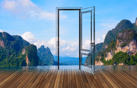 Landscape behind sketch the opening door photo