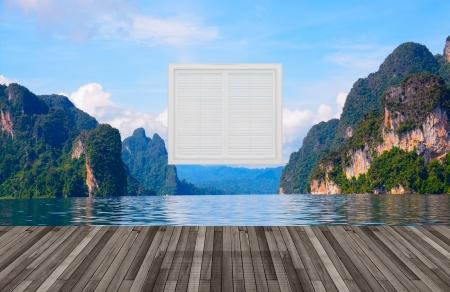 Landscape behind the window,3D  photo