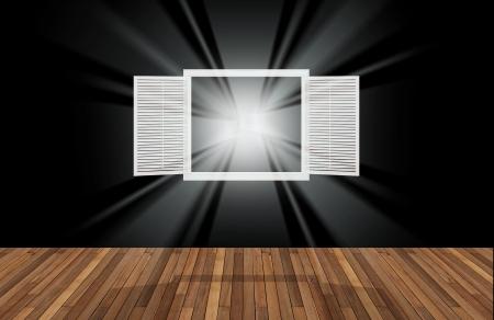 opening window: espacio negro detr�s de la ventana que se abre, 3D Foto de archivo