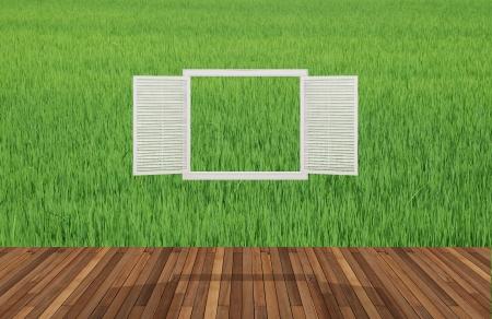 opening window: Paisaje detr�s de la ventana que se abre, 3D