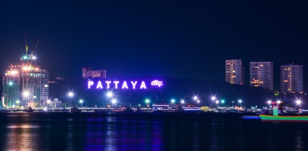 Pattaya city harbor at night, Thailand  photo