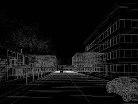 sketch design of city ,3dwire frame render
