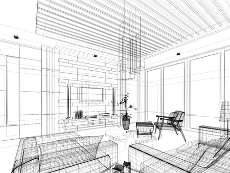 sketch design of interior living Stock Photo - 24519269