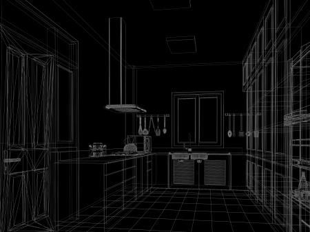 sketch design of interior kitchen Stock Photo - 24569176