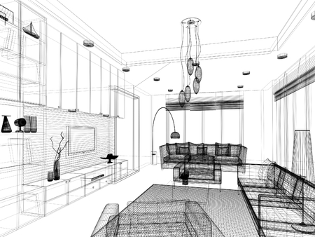 sketch design of interior living Stock Photo - 24519272