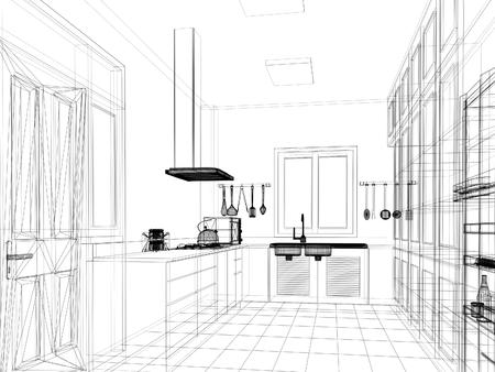 disegno schizzo di cucina interna
