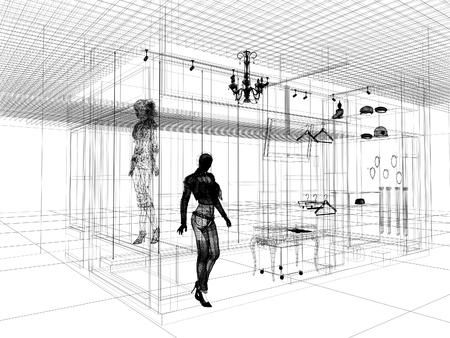 sketch design of interior shop Stock Photo - 24519275