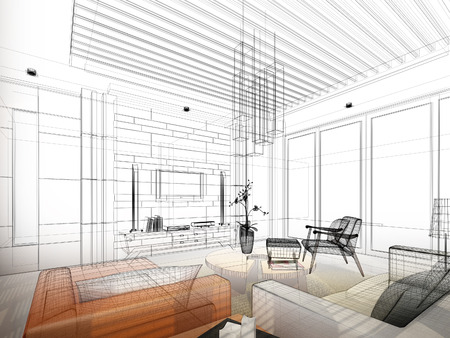shop interior: sketch design of interior living