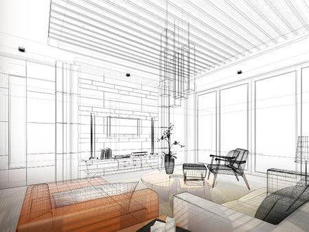 interior plan: sketch design of interior living