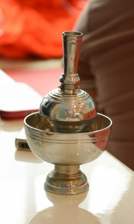 Silver Pour Ceremonial Water Thai Traditional Stock Photo