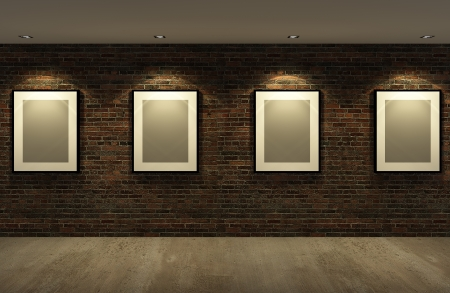 picture frame on the old brick wall with concrete floor at night,3d photo