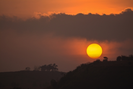 sun at twilight ,Khao Kho in Phetchabun , Thailand  photo