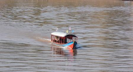 khong river: boat on  Khong river in Chaingkhan, Thailand