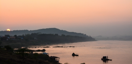 twilight of Khong river in Chaingkhan, Thailand  photo