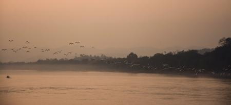 khong river: twilight of Khong river in Chaingkhan, Thailand  Stock Photo
