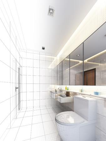 disegno schizzo di bagno interno