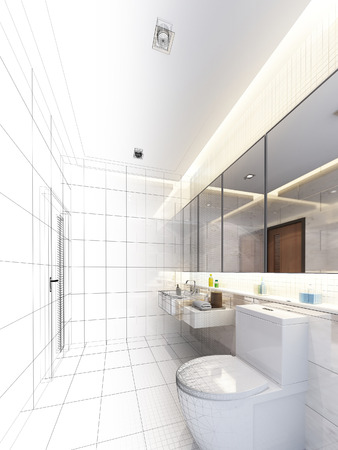 sketch design of interior bathroom photo