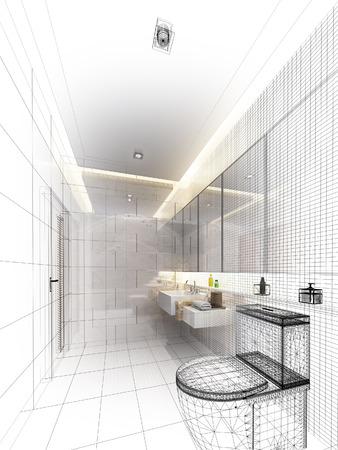 schetsontwerp van het interieur badkamer