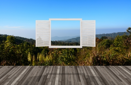 Landscape behind the opening window,3D photo
