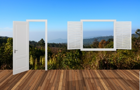Landscape behind the opening door and window,3D  photo