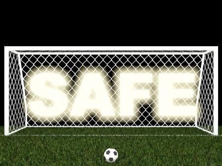 goalline: safe,penalty area Stock Photo