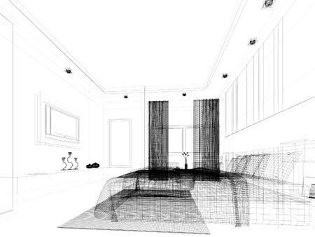 sketch design of interior bedroom