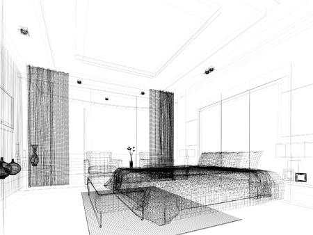 ベッドルームのインテリアのデザインをスケッチします。 写真素材
