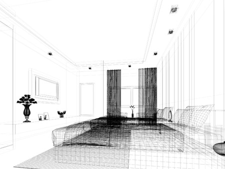 sketch design of interior bedroom Stock Photo - 25243322
