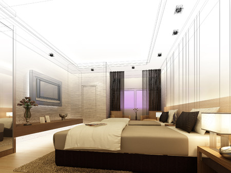 sketch design of interior bedroom photo