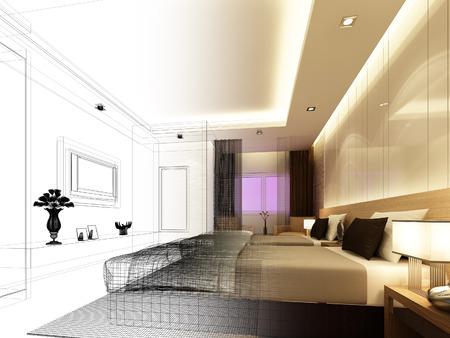 disegno schizzo di camera interna