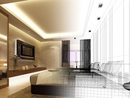 sketch design of interior bedroom Stock Photo - 25243334