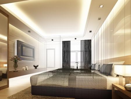 sketch design of inter bedroom Stock Photo - 25243335