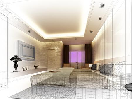 schetsontwerp van het interieur slaapkamer