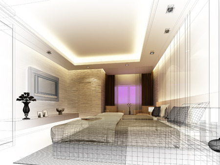 sketch design of interior bedroom Stock Photo - 25243336