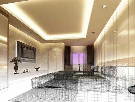 sketch design of inter bedroom Stock Photo - 25243338