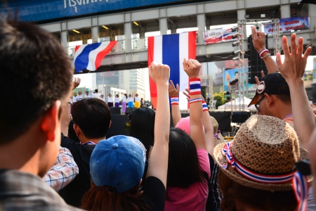 anti fascist: Show your hand up ,Thai Anti-Government Protesters in Bangkok