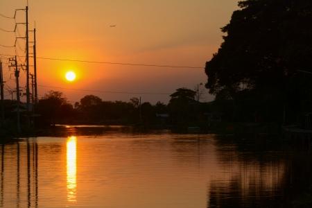 samutprakarn: Sunset at  twilight over the canal ,Samutprakarn  Thailand Stock Photo