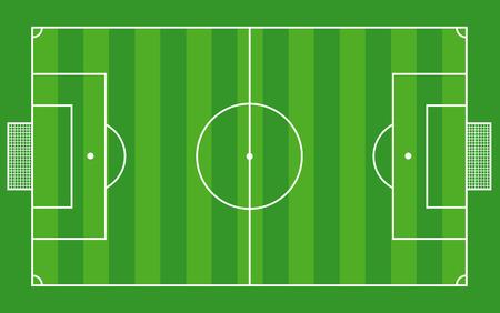 Vista dall'alto del campo di calcio o campo di calcio - illustrazione vettoriale Vettoriali