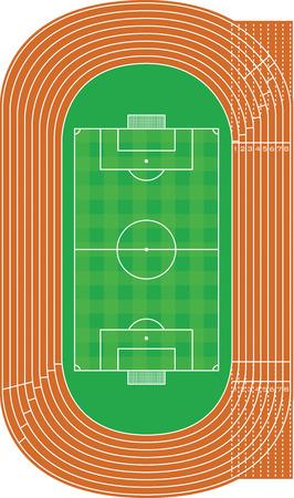 running track: Bovenaanzicht van atletiekbaan en voetbalveld op wit