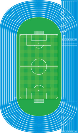Top view of running track and soccer field on white Vector
