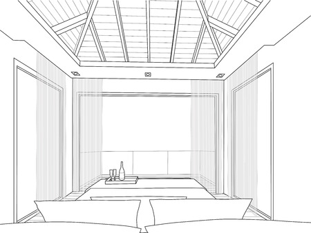 sketch design of interior bedroom - Vector illustration Vector