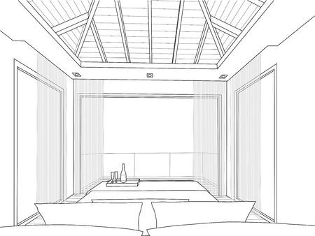 sketch design of interior bedroom - Vector illustration Stock Vector - 26052893