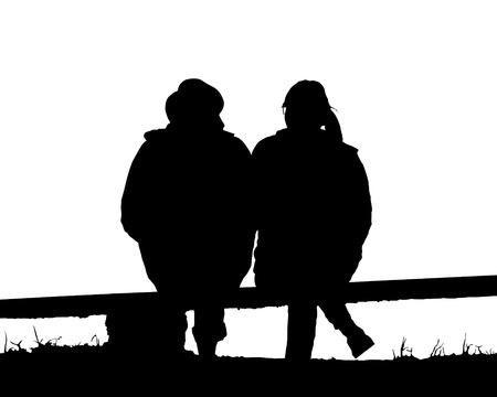 silueta amor de los pares que se sienta en banco de ilustración-Vector