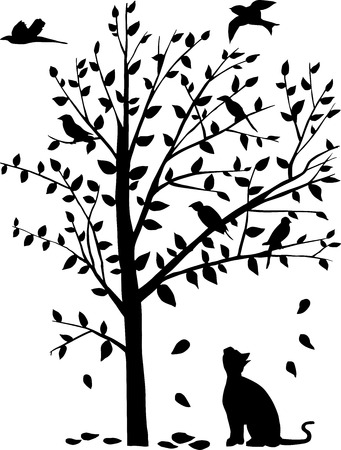 carrion: vector illustration of the cat stare the birds on the tree