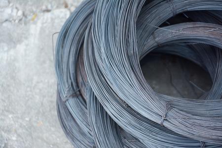 special steel: metal wire on concrete floor