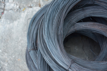 solid wire: metal wire on concrete floor