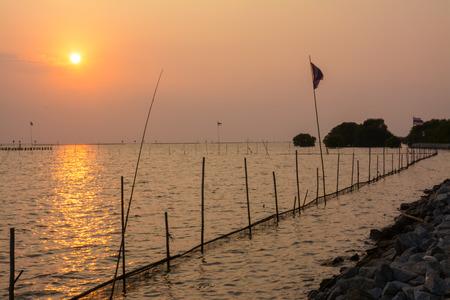 samutprakarn: sea at twilight ,Samutprakarn,Thailand  Stock Photo