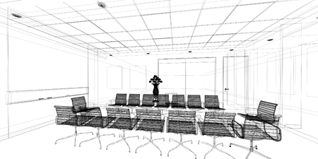 sketch design of interior conference, wire frame photo