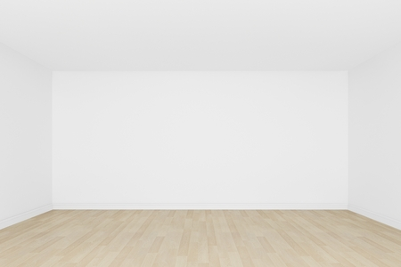 white wall with wood floor ,3d interior  photo