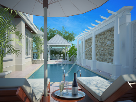 backyard with entertaining area and pool,3d Imagens - 26338284